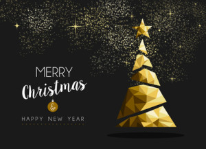 Merry christmas happy new year golden triangle tree